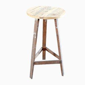 Tavolino antico industriale in legno di abete