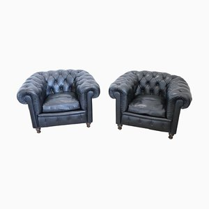 Leather Chesterfield Lounge Chairs from Poltrona Frau, 1960s, Set of 2