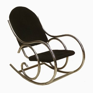 French Modernist Chrome and Jersey Knit Rocking Chair, 1970s