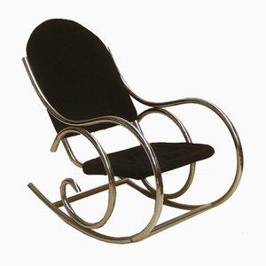Sedia a dondolo modernista in metallo cromato e tessuto Jersey, Francia, anni '70