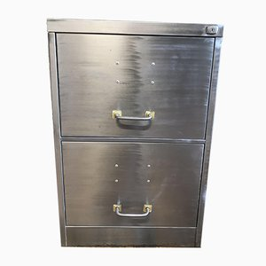 Vintage Industrial Stripped Steel Cabinet with 2 Drawers, 1970s