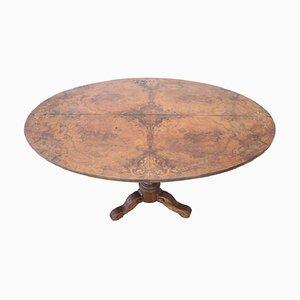 Antiker ovaler Tisch aus Wurzelbruyereholz mit Intarsien, 1880er