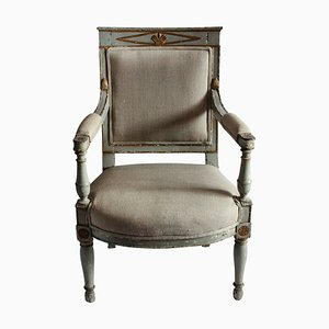 Antiker Armlehnstuhl aus Holz & Leinen, 1810er