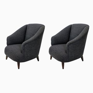 Vintage Wool Lounge Chairs by Guglielmo Ulrich, 1950s, Set of 2