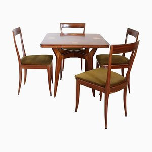 Italian Mahogany and Velvet Dining Room Set by Ico & Luisa Parisi, 1970s