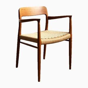 Dänischer Armlehnstuhl aus Teak & Papierkordelgeflecht von Niels Otto Møller für J.L. Møllers, 1960er