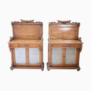 Antique Carved Walnut Cabinets, 1880s, Set of 2