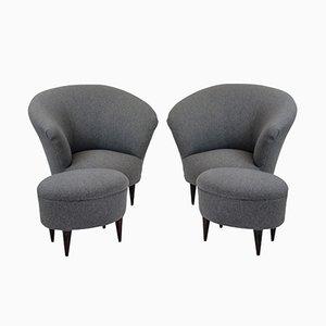 Mid-Century Sessel mit Fußhocker von Ico und Luisa Parisi, 1950er, 2er Set