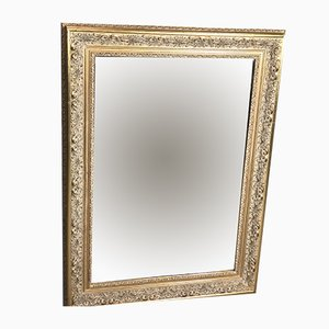 Vintage French Louis XV Style GIlt Stucco Wood Mirror, 1980s