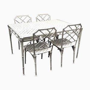 Juego de mesa y sillas de jardín de aluminio de Brown Jordan, años 60