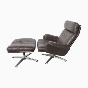 Vintage Leather Lounge Chair with Ottoman, 1970s