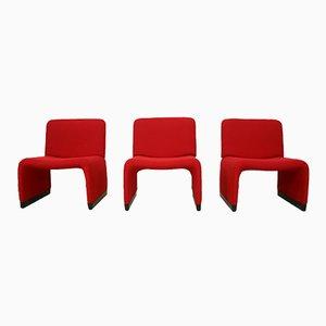 Sillón de tela Hopsack roja de Giancarlo Piretti para Castelli