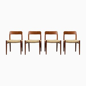 Danish Teak and Wool Dining Chairs by Niels Otto Møller for J.L. Møllers, 1960s, Set of 4