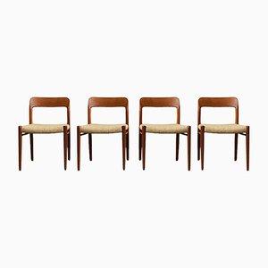 Sedie da pranzo in teak e lana di Niels Otto Møller per J.L. Møllers, Danimarca, anni '60, set di 4