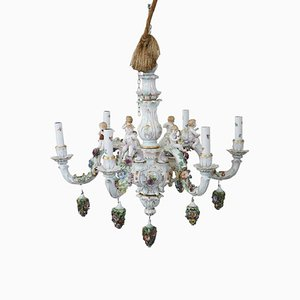 Italian Porcelain Chandelier from Capodimonte, 1950s