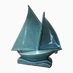 Türkisfarbenes Art Deco Segelboot aus Keramik von Lejan, 1920er