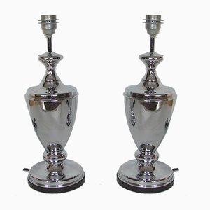 Lámparas de mesa italianas modernas de metal, años 70. Juego de 2