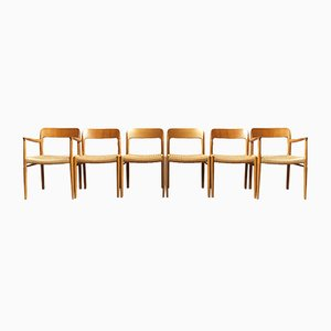 Dänische Modell 75 Esszimmerstühle mit Wollsitz & Gestell aus Teak von Niels Otto Møller für J.L. Møllers, 1960er, 6er Set