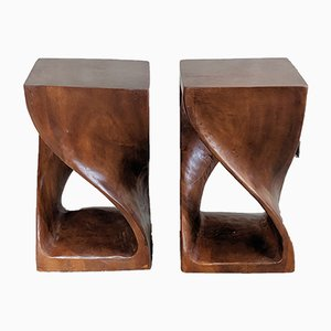 Carved Side Tables, 1980s, Set of 2