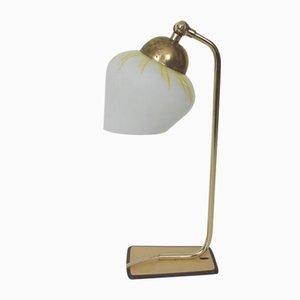 Lámpara de mesa modernista de latón y vidrio, años 60