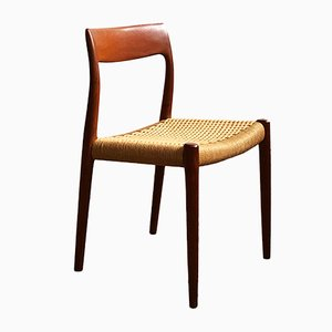 Dänischer Stuhl mit geflochtenem Sitz & Gestell aus Teak von Niels Otto Møller für J.L. Møllers, 1950er