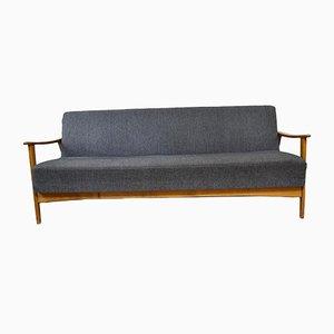 Sofá cama Mid-Century de nogal, años 50