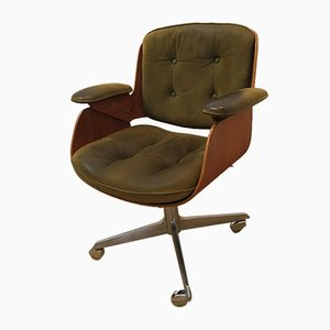 German Leather and Oak D49 Desk Chair by Hans Könecke for Tecta, 1950s