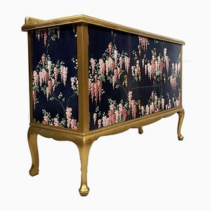 Mid-Century Wooden Wysteria Decoupage Decorated Sideboard, 1940s