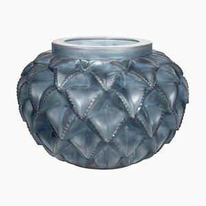 Jarrón francés Languedoc vintage de vidrio de René Lalique, años 20