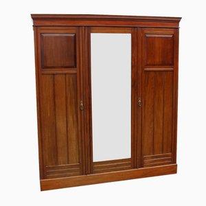 Vintage Mahogany Wardrobe with Mirrored Doors, 1920s
