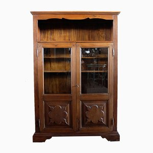 Vintage Hand-Crafted Italian Walnut Bookcase Cabinet, 1980s