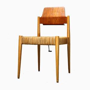Chaise d'Appoint SE119 Mid-Century en Bois et Osier par Egon Eiermann pour Wilde + Spieth, Allemagne, 1950s