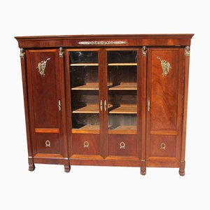 Vintage French Bronze, Glass, and Chestnut Wall Unit, 1920s