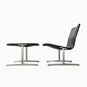 German Black 601/602 RZ Zapf Chair & Stool Set by Dieter Rams for Vitsœ, 1960s