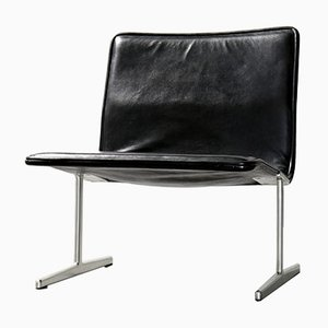 German 601/602 RZ Black Leather Zapf Lounge Chair by Dieter Rams for Vitsœ, 1960s