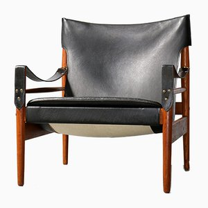 Mid-Century Kinna Leather and Teak Armchair by Hans Olsen for Viska Mobler