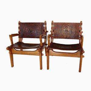 Poltrone in ciliegio e pelle di Angel Pazmino per Muebles de Estilo, anni '60, set di 2