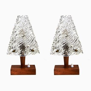 Glass and Wood Table Lamps by J. T. Kalmar for Kalmar, 1950s, Set of 2
