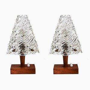 Tischlampen aus Glas & Holz von J.T. Kalmar für Kalmar, 1950er, 2er Set