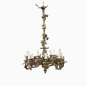 Lámpara de araña antigua de bronce dorado, década de 1880