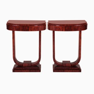 Art Deco French Lacquered Palisander Console Tables, 1920s, Set of 2