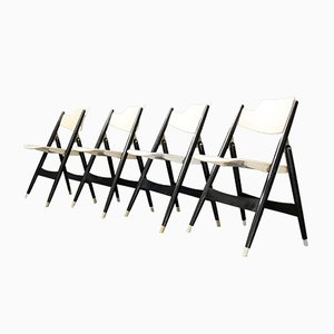 German SE 18 Folding Chairs by Egon Eiermann for Wilde+Spieth, 1950s, Set of 4