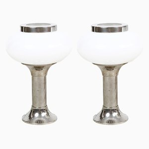 Chrome & Opaline Glass Table Lamps, 1960s, Set of 2