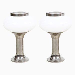 Lampade da tavolo in vetro opalino e metallo cromato, anni '60, set di 2