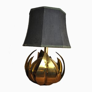 Lampada da tavolo Mid-Century floreale in ottone, Italia, anni '60