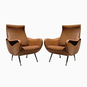 Italian Brass and Skai Lounge Chairs, 1950s, Set of 2