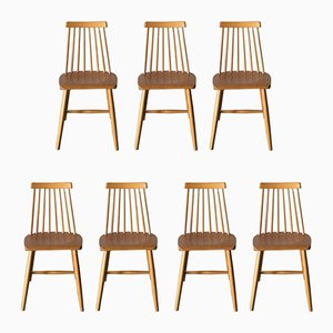 Swedish Elm Dining Chairs, 1970s, Set of 7
