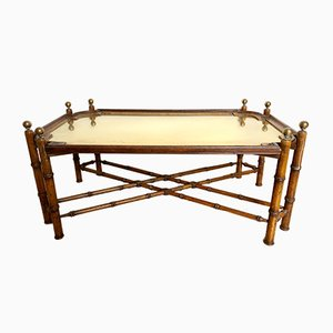 Vintage Italian Brass Imitation Bamboo Coffee Table, 1970s