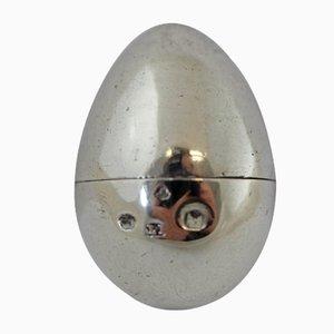 Rallador de nuez moscada Egg antiguo de plata de Joseph Taylor