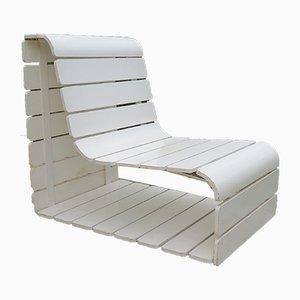 Vintage Loop Slatted Wood Garden Chair, 1970s